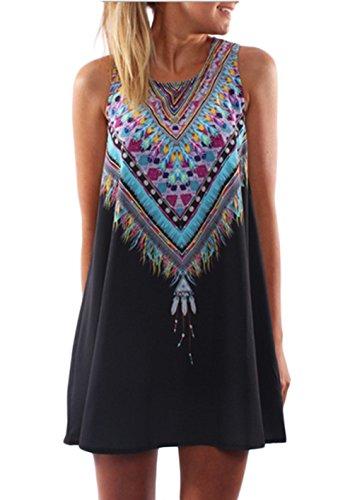 RAYWIND Neueste Kleid f¨¹r Frauen beil?ufige Sommer Kleider mit Blumenmuster Black