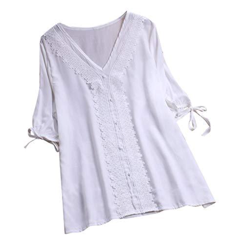 KPILP Womens Bluse Tuniken Plus Size Lässige Elegante Print Vintage Baumwolle Leinen Tops T-Shirt Boho Floral Lose Oberteile(H6-weiß,EU-46/CN-L)