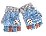 Guanti senza dita per bambini, autunno e inverno, caldi, a 5 dita, lavorazione patchwork, unisex, per bambino