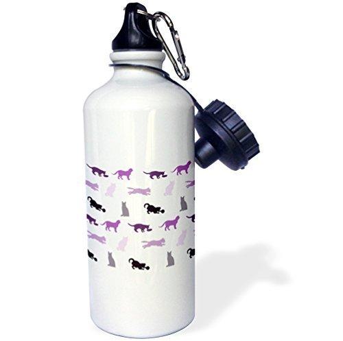 Moson Wasser Flasche Geschenk, Lila Katzen Muster Katze Silhouette Print Stilvolle Feline Pet Design Weiß Edelstahl-Flasche für Frauen Herren Klauenhammer/Latthammer - Lila Flasche Brita-wasser