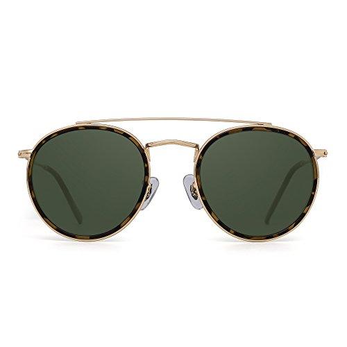 JIM HALO Runden Polarisiert Sonnenbrille Metall Rahmen Flach Kreis Linse Brille Damen Herren(Gold-Legierung Schildkröte Tipp/Polarisiertes Grün)