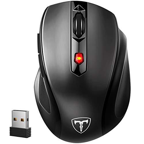 VicTsing PRO Mouse Wireless Mouse Senza Fili 6 Pulsanti, 24 Mesi in Standby, per Windows 10/8/7/XP/Vista, per PC Mac. Nero