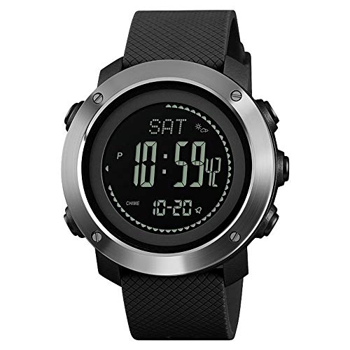 GYITENG Multi Funktion Outdoor Sport Wasserdicht Digital Watch Thermometer Kompass, Silber Schwarz