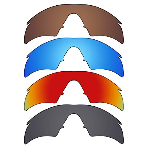 Mryok polarisierte Ersatzgläser für Oakley M Frame Hybrid Sonnenbrille - Stealth Black/Fire Red/Ice Blue/Bronze Braun, 4 Paar