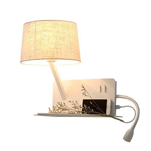 Modern USB-Anschluss Wandleuchte verstellbarem Schlauch LED 3W Leselampe Warmweiß Nachttischlampe mit Schalter Schlafzimmer Nachtlicht Stoffschirm Wandlampe Leselicht Wandspot Lampe Kreative Design