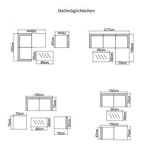 POLY RATTAN Lounge Gartenset SCHWARZ Sofa Garnitur Polyrattan Gartenmöbel Neu - 6