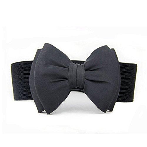 Malloom® moda mujeres bowknot Cinturones (Negro)