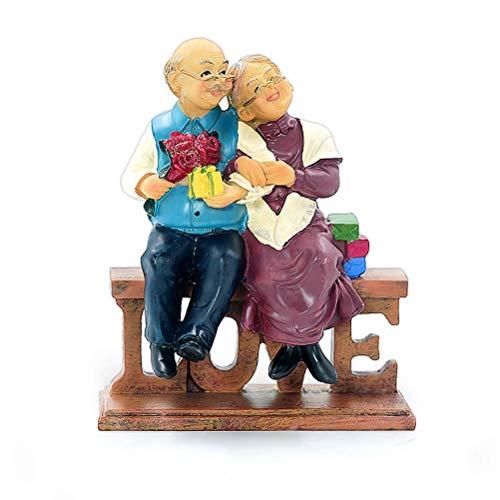 Aoneky Figura de Aniversario de Bodas de Oro para Parejas de Ancianos, Figura Estatua de Parejas Mayores - Decoración de Escritorio para Hogar & Coche, Regalos para Padres & Abuelos, Día de La Madre