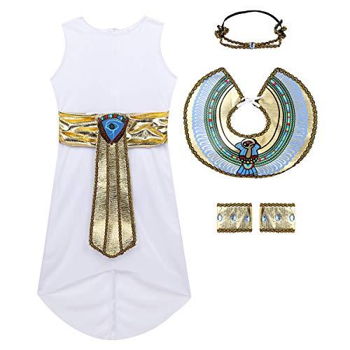 Set Incluye: 1Pc Vestido, 1Pc Cuello, 1Pc Diadema, 1 Par de Brazaletes Condición: Nuevo sin etiqueta Material: Poliéster Color: Blanco(como muestran las imágenes) Tag No.---|---Tamaño recomendado para niños---|------Pecho-----|-----Cintura----|---Anc...