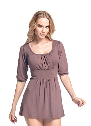 Glamour Empire Donna Vestito con gonna corta e scollatura quadrata Tunica 940 Cappuccino