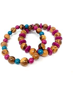 Armband aus Olivenholz Perlen farbig - handgemacht auf Mallorca - bagusto
