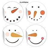 24 fröhliche smiley Aufkleber mit Schneemann Gesichtern, weiß, MATTE universal Papieraufkleber auch für Geschenke, Etiketten für Tischdeko, Pakete, Briefe und mehr (ø 45mm