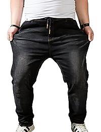 Tempo Heheja Pantaloni Taglia Grossa Libero Uomo Jeans Elasticità Alta Vita Pantalon Denim Harem 1IwBqxR1r