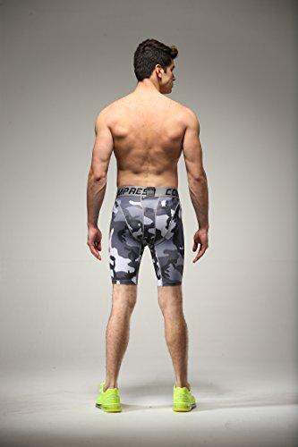 Fringoo Workout-Kompressions-Shorts für Herren, Thermo-Hose für Sport, CAMO GREY shorts - 6