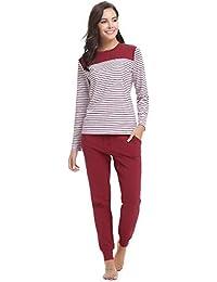 0e2893a6d5 Aibrou Damen Schlafanzug Pyjama Lang Gestreift Hausanzug Baumwolle  Nachtwäsche mit Lange Oberteil Hose für Herbst Winter