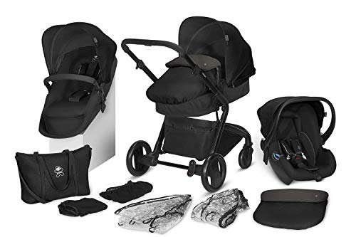 cbx 3-in-1 Kombikinderwagen-Set Bimisi Flex, 11-teilig mit Babyschale Shima, 2-in-1 Sitzeinheit mit Sportsitz und Babywanne,  Smokey Anthracite