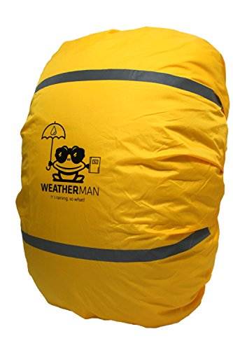 Weatherman wasserdichter Regenschutz für Schulranzen und Rucksack, Signalfarbe, mit Gummizug, Regenhülle, Sicherheitsüberzug, Sicherheitshülle, Schutzhülle, Regenschutzhülle (Gelb)