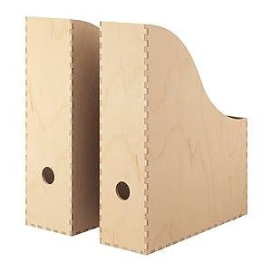 """IKEA Zeitschriftensammler """"KNUFF"""" Holz-Aufbewahrungsbox im 2-er Set - 9x24x31cm und 10x25x31cm"""