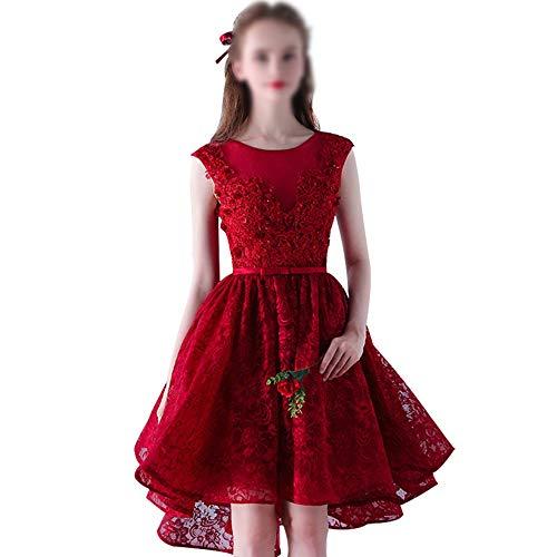 Frauenkleid Hochzeitsfest-Abschlussball-Kleid-Frauen Sleeveless Spitze-runder Ansatz-kurzes Abend-Kleid (Farbe : Weinrot, Size : L) Crochet Sleeveless Rock