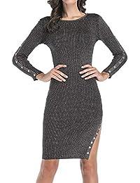 Damen Jersey Kurz Kleider Sexy Etui Pulli Kleid Wickelkleider Abendkleider  Partykleid Cocktailkleid Rundhals Langarm Kleid mit 563fd8913e