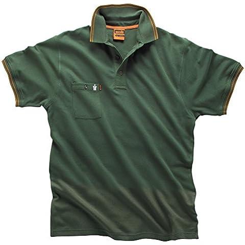 Scruffs-Worker-Polo in cotone, colore: verde, misura XXL