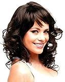 Forever Young Media Marrone scuro donna elegante ricci parrucca stile