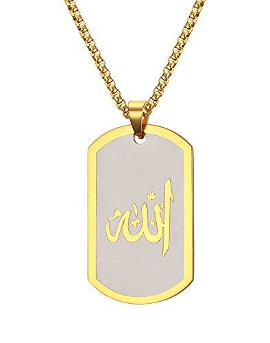 Lekima Bijouterie Edelstahl Anhänger Halskette Militär Armee Hund Tag Allah Zeichen Schmuck Geschenk Für Männer Frauen - Gold (Geschenk Tasche Enthalten)