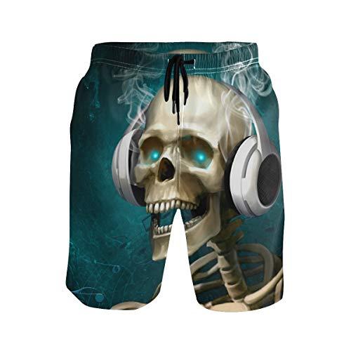 nd Shorts Skelett Kopfhörer Drawsting Badehose Bademode Netzfutter mit Tasche Gr. S 7-9, Mehrfarbig ()