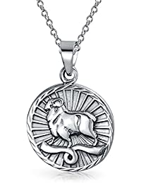 Bling Jewelry Large Aries Zodiac Medallion Pendant Sterling Silver Necklace 18 Inches