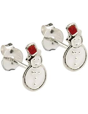 925 Silber Ohrstecker Schneemann emailliert Ohrringe aus Sterling Silber