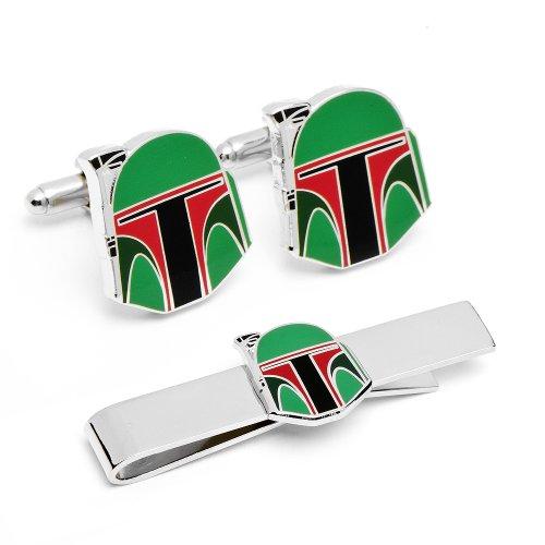 Officially licensed by Lucasfilm Star Wars Boba Fett Helmet Cufflinks Tie Bar Gift Set
