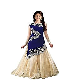 swagat saree Girl's Georgette Semi Stitched Salwar Suit(jan 01_Blue_8-12 Years)