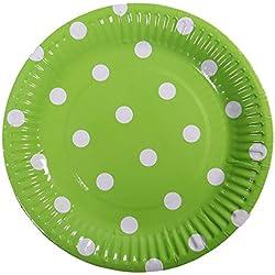 Meowoo Pappteller Rund Partyteller Einwegteller ideal für Feste und Feiern wie Geburtstag oder Grillabend, aus Frischfaserkarton 18cm (100 pack) (Grün, 100 pcs)