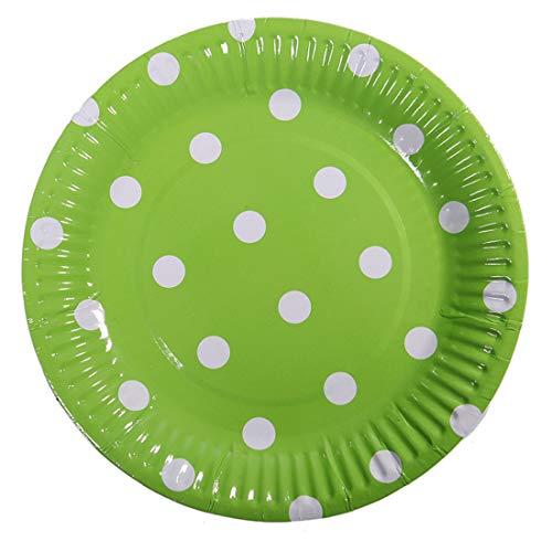 Meowoo Pappteller Rund Partyteller Einwegteller ideal für Feste und Feiern wie Geburtstag oder Grillabend, aus Frischfaserkarton 18cm (100 Pack) (Grün, 100 pcs) (Pappteller Hellgrün)