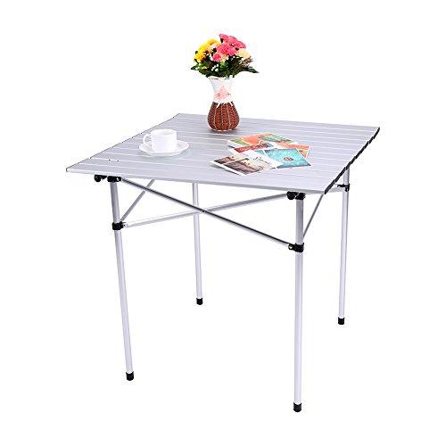GOTOTOP Table Pliante Portable en Aluminium et Cadre en Acier pour Camping Pique-Nique Barbecue Jardin 70x70x70cm