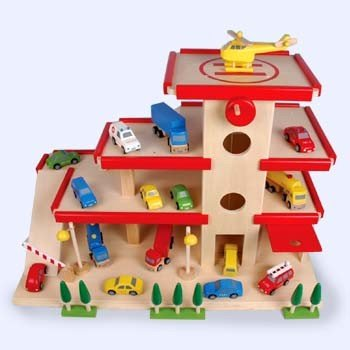 Großes Parkhaus aus Holz von HUB-Toys