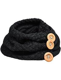 Yuson Girl Bufanda Mujer, Círculo Bufandas Mujeres invierno cálido dos botones de cable del círculo Knit Cowl Cuello Bufanda