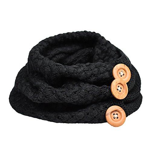 Bufanda Mujer, Youson Girl® Círculo Bufandas Mujeres invierno cálido dos botones de cable del círculo Knit Cowl Cuello Bufanda (negro)