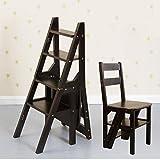 Tritthocker-HJL Step Stool Wooden - Stepladder Faltbarer Mehrzweck-Trittleiter Haushaltsleiter Treppenstuhl Regal für Kinder Erwachsene Welcome (Farbe : SCHWARZ)