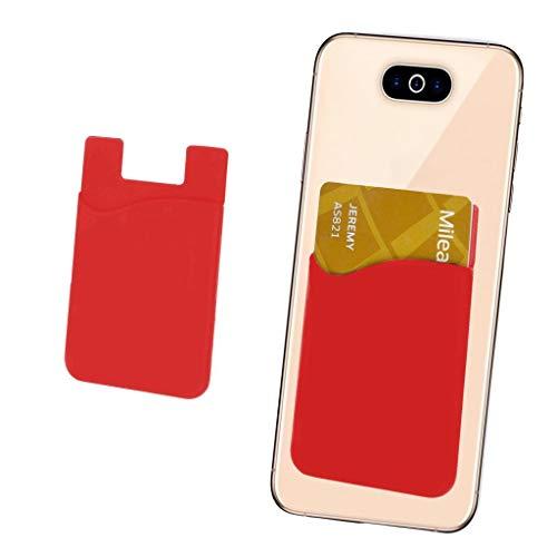 i-Tronixs Kreditkarten-Halter für Handyrückseite, Silikon-Karten-Haftung, mit 3M-Klebeband, für Obi Octopus S520 (kompatibel mit iPhone/Android/Tablets) Rot