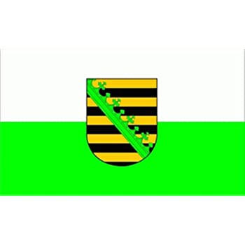 Flagge Fahne Sachsen mit Wappen, ca. 30 x 45 cm