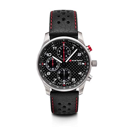 Audi 3101700200 Original Chronograph Sport Herren Armbanduhr, Carbon Ziffernblatt schwarz