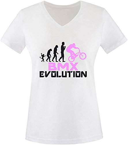 EZYshirt® BMX Evolution Damen V-Neck T-Shirt Weiss/Schwarz/Rosa