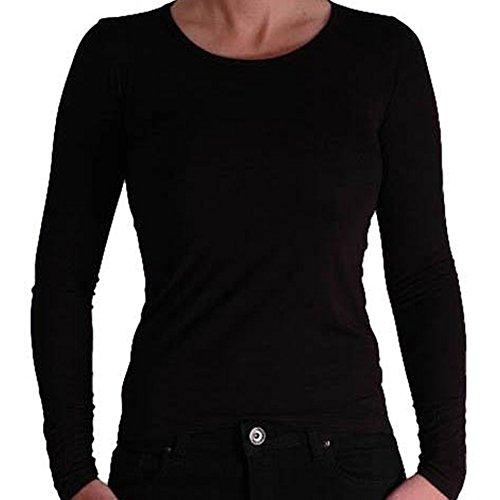 Lucia einfaches Damen basic langarm fashion Top mit rundem Ausschnitt Schwarz