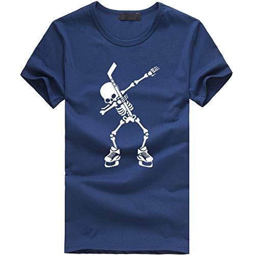 Tyoby Herren T-Shirt Drucken Schädel Mode Slim Fit Kurzärmliges Oberteil Sommer Straße Tops Herrenbekleidung (Marine,L)