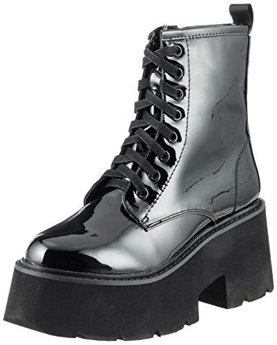 Buffalo Damen Metal LH-829 METALLIC PU Combat Boots Schwarz (Black 01 00) 36 EU Damen-black Metal