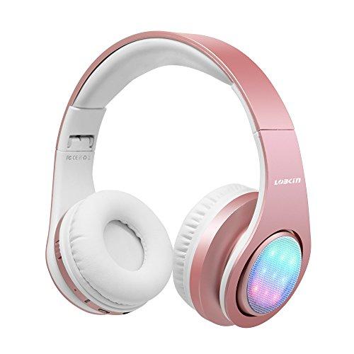 LOBKIN Bluetooth Kopfhörer, Stereo Musik LED Leuchten Faltbare Drahtlose Kopfhörer über Ohr HiFi Headsets mit TF Crad Slot, Mikrofon und FM für alle Bluetooth-fähigen Geräten (Rosa)