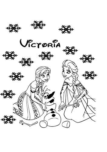 Frozen Zeichen Anna, Princes Elsa und Olaf zusammen spielen, personalisierbar Mädchen Schlafzimmer Wandtattoo FR4Frozen Princess Anna, Elsa, Olaf mit 12Schneeflocken personalisierbar Stil Kinder Schlafzimmer Kinderzimmer Aufkleber Vinyl Wall Art in 15Farben. Weiß