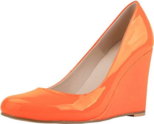 CFP , Damen Durchgängies Plateau Sandalen mit Keilabsatz , orange - Orange - Größe: 39