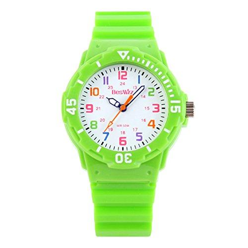 BesWLZ Kinder und Jugendliche Uhr Analog Quarz Wasserdicht mit Plastik Armband Grün